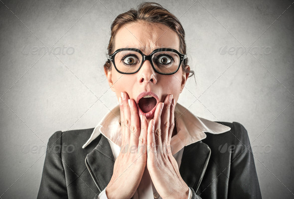 shocked businesswoman - Stock Photo - Images