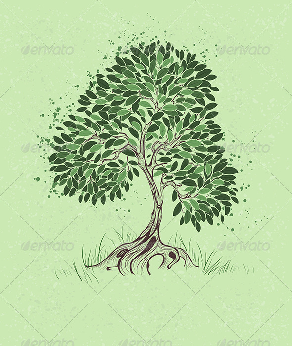 GraphicRiver Tree on a Green Background 7915489