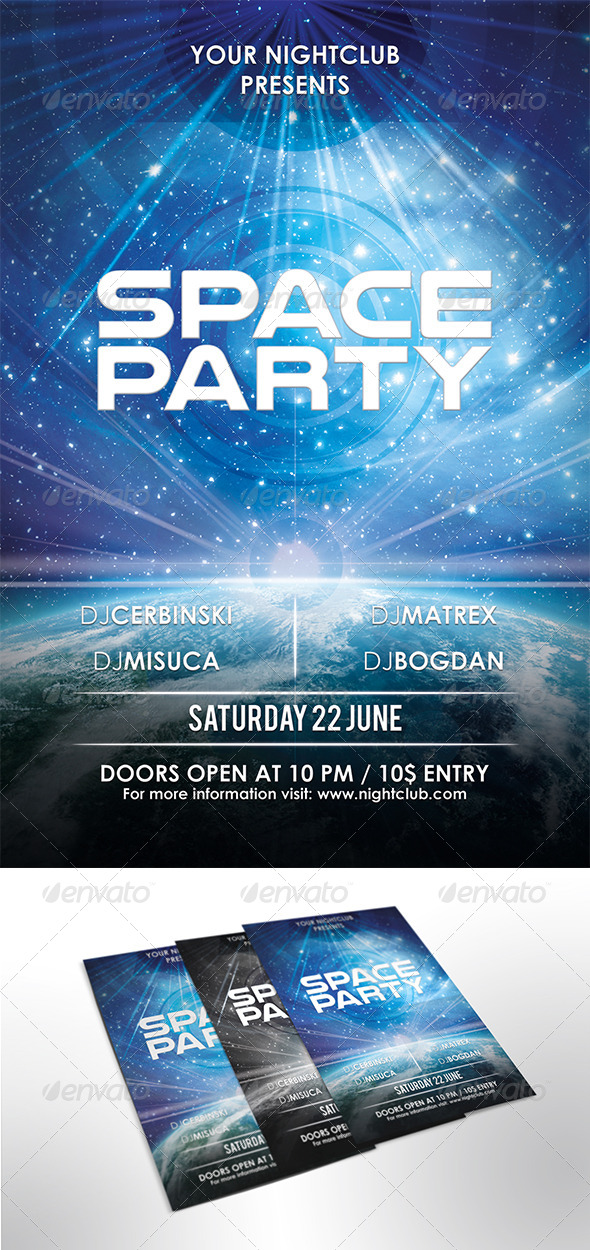GraphicRiver Space Party Flyer 7915503