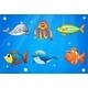 Six Smiling Sea Creatures Under the Deep Sea - GraphicRiver Item for Sale