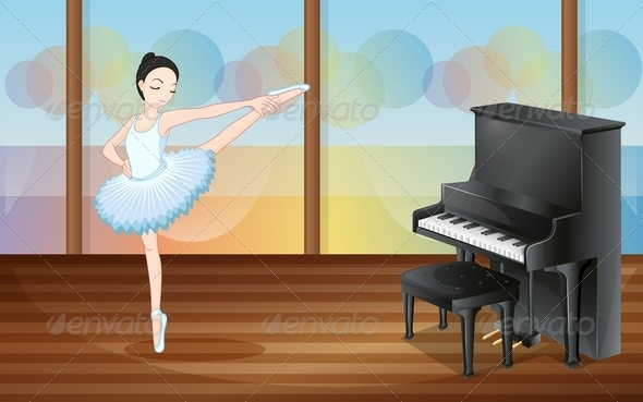 GraphicRiver Ballerina Dancing Near the Piano Inside a Studio 7915521