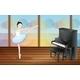 Ballerina Dancing Near the Piano Inside a Studio - GraphicRiver Item for Sale