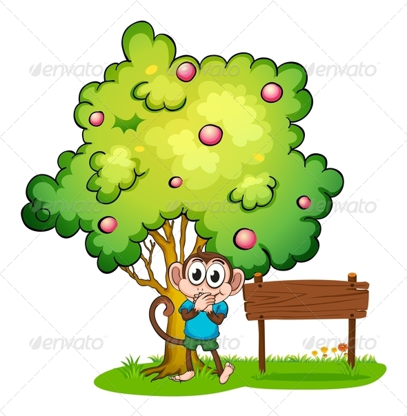 GraphicRiver Monkey Under a Tree Beside an Empty Wood Sign 7915581