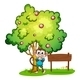 Monkey Under a Tree Beside an Empty Wood Sign - GraphicRiver Item for Sale