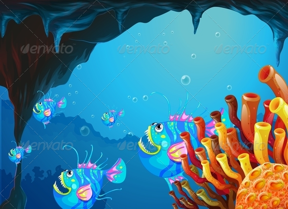 GraphicRiver Cave Under the Sea with a School of Fish 7915600