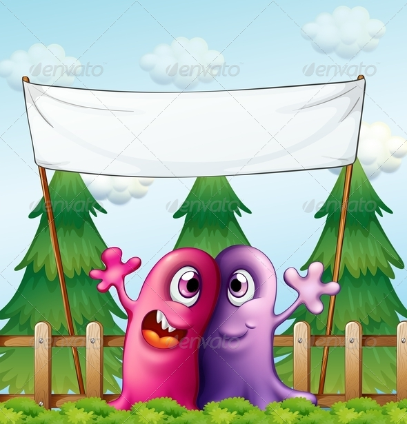 GraphicRiver Two Loving Monsters Under an Empty Banner 7915634