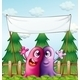 Two Loving Monsters Under an Empty Banner - GraphicRiver Item for Sale