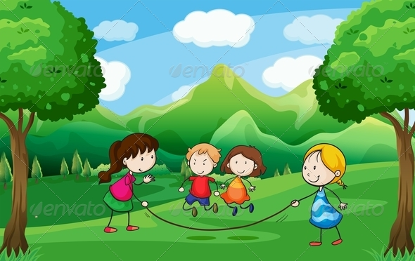 GraphicRiver Four Kids Playing Outdoor Near the Trees 7915644