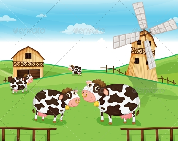 GraphicRiver Cows at the Farm with a Windmill 7915657