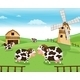 Cows at the Farm with a Windmill - GraphicRiver Item for Sale