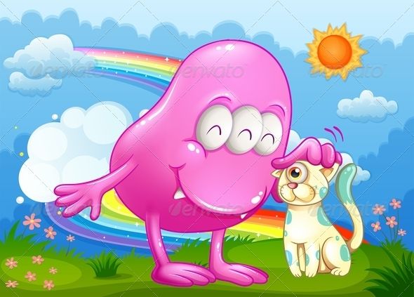 GraphicRiver Pink Monster and a Cat at the Hilltop 7915660