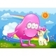 Pink Monster and a Cat at the Hilltop - GraphicRiver Item for Sale