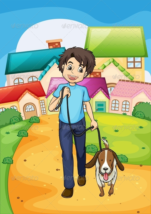 Happy Young Boy Walking with His Pet