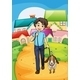 Happy Young Boy Walking with His Pet - GraphicRiver Item for Sale