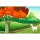 White Goat Near a Big Tree - GraphicRiver Item for Sale