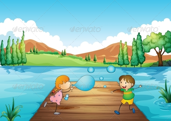 GraphicRiver Young Girl and Boy Playing with Bubbles 7915785