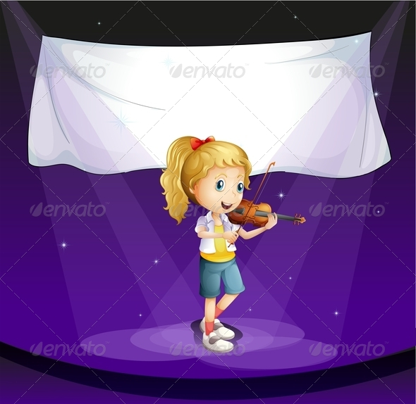 GraphicRiver Girl Performing at the Stage with an Empty Banner 7915788