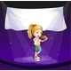 Girl Performing at the Stage with an Empty Banner - GraphicRiver Item for Sale