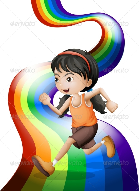 GraphicRiver Rainbow with a Young Woman Running 7915819