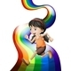 Rainbow with a Young Woman Running - GraphicRiver Item for Sale