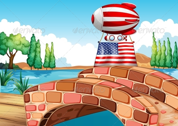 GraphicRiver Balloon and Flag of the United States Above 7915893