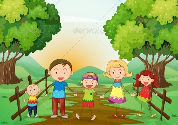 GraphicRiver Happy Family Standing on a Pathway 7915894