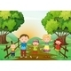 Happy Family Standing on a Pathway - GraphicRiver Item for Sale