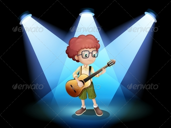 GraphicRiver Young Guitarist at the Center of the Stage 7915980