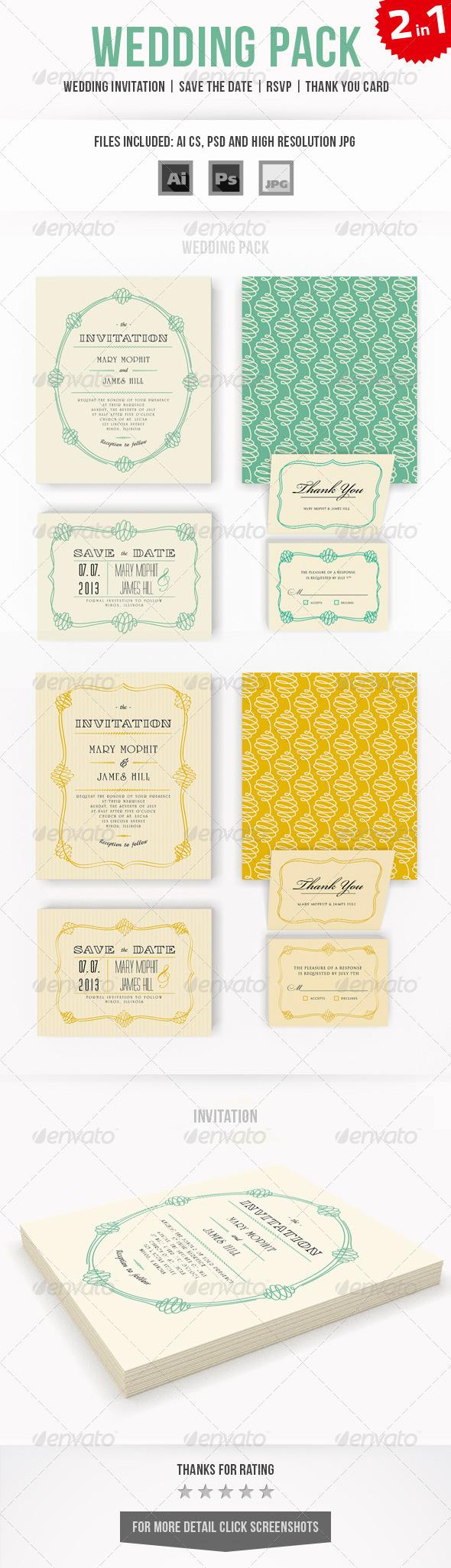 GraphicRiver Wedding Invitation Set 7916693