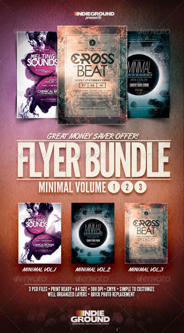 Minimal Flyer/Poster Bundle Vol. 1-3 - Events Flyers