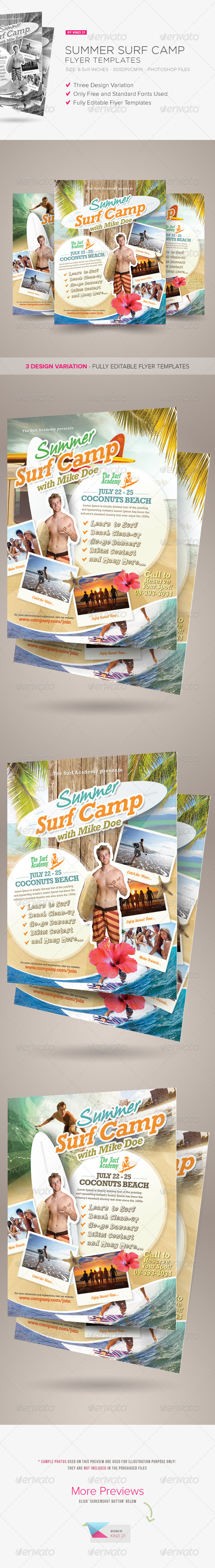 GraphicRiver Summer Surf Camp Flyers 7917237