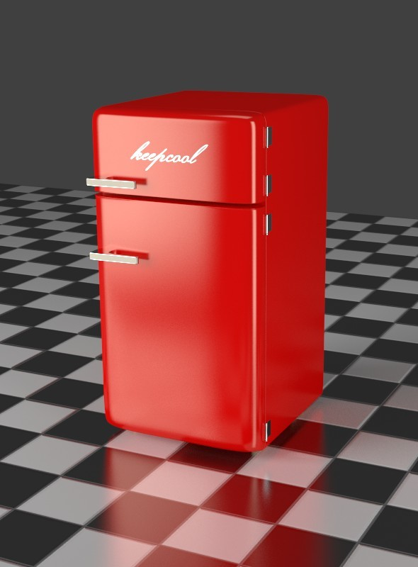 3DOcean Fridge Freezer Combi red 7917488