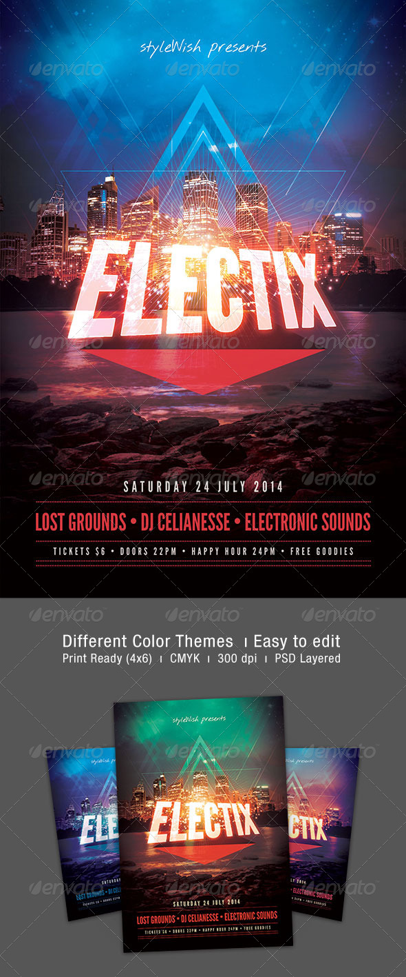 Electix Flyer - Clubs & Parties Events