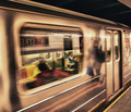 Subway train moving in Manhattan station, New York City - PhotoDune Item for Sale