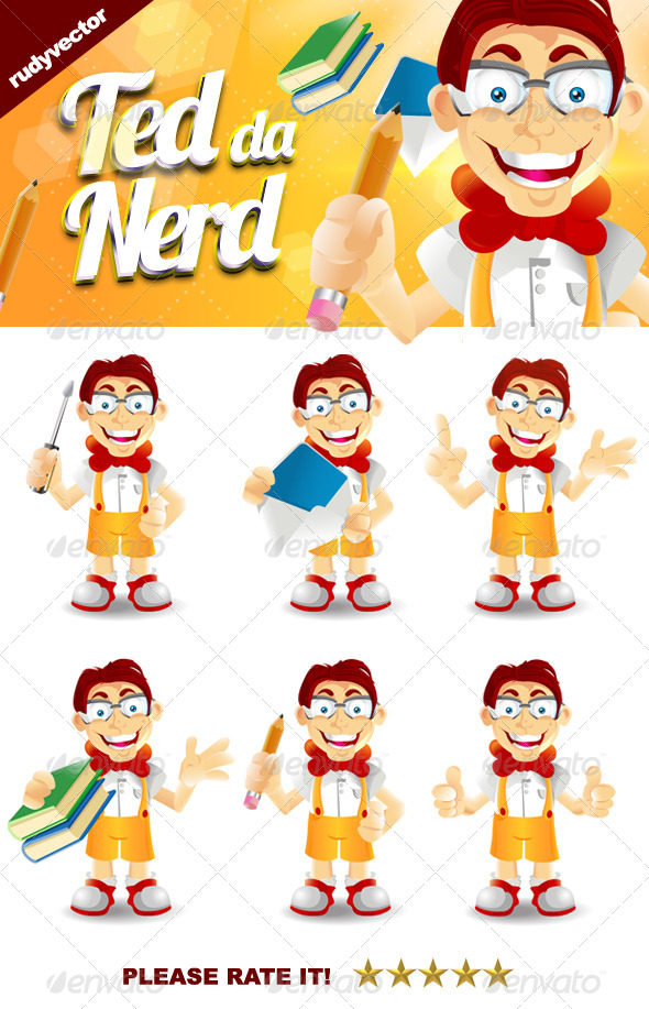 GraphicRiver Ted the Nerd Geek Mascot 7918253