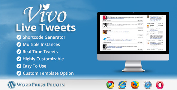 Summary Vivo Live Tweets plugin for WordPress allows you to easily show tweets in real time from three most popular twitter resources. Tweets can be shown usin