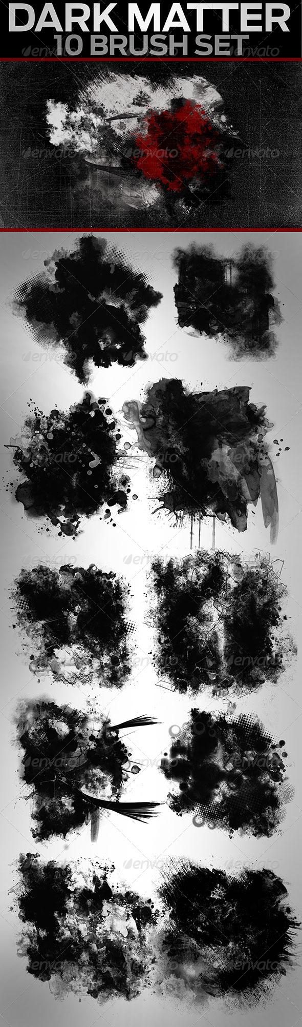 GraphicRiver 10 Hi-Res Grunge Brushes Dark Matter 7920030