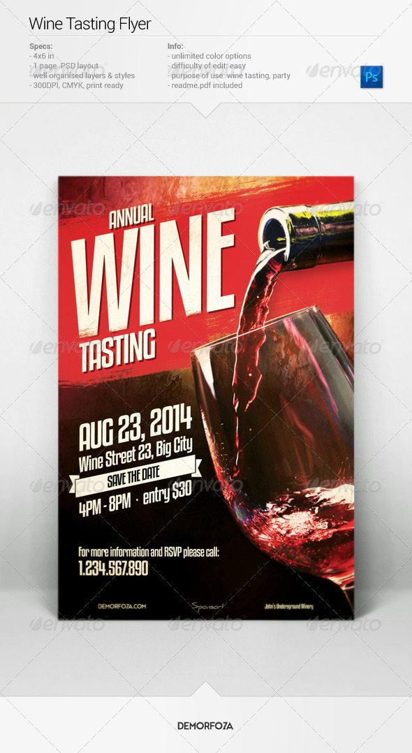 GraphicRiver Wine Tasting Flyer 7920187