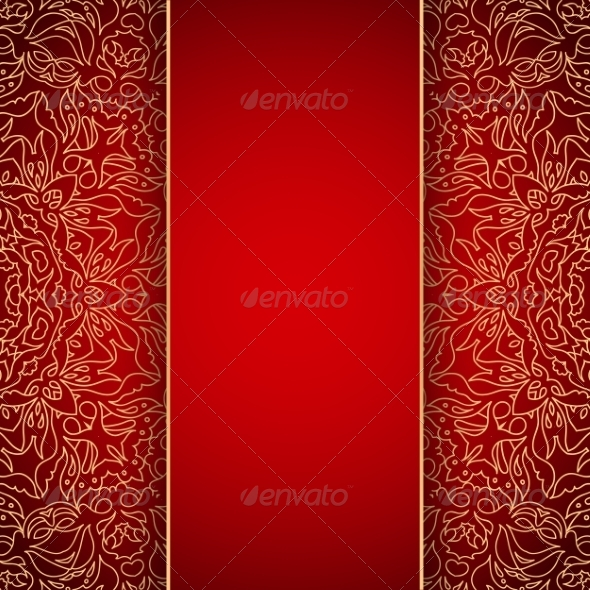 GraphicRiver Elegant background with gold lace ornament 7920483