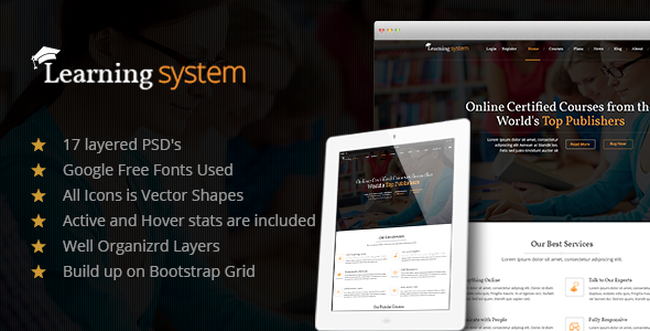ThemeForest Learning System PSD Template 7920650
