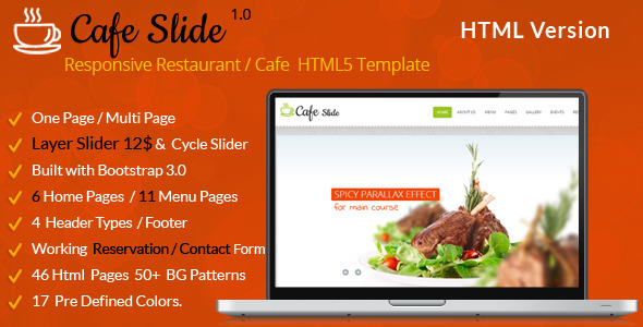 ThemeForest Cafe Slide Responsive Restaurant HTML5 Template 7842203