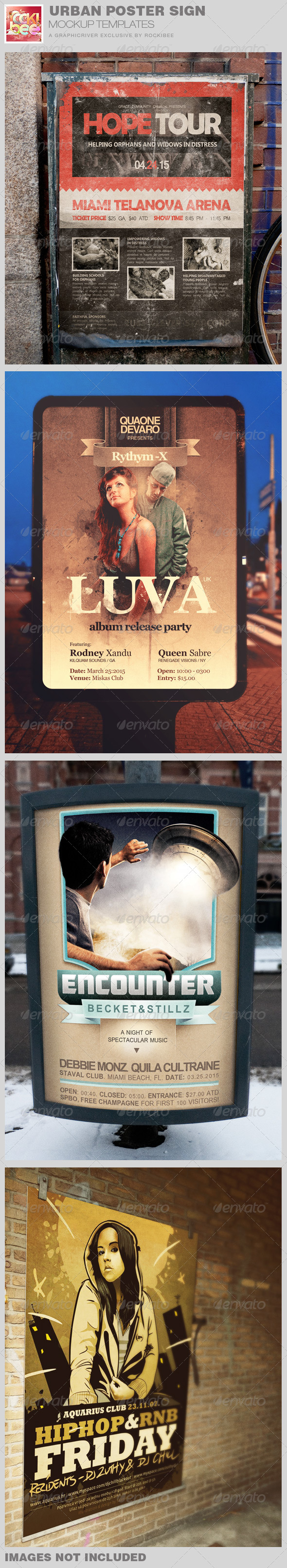 GraphicRiver Urban Poster Sign Mockup Templates 7920829