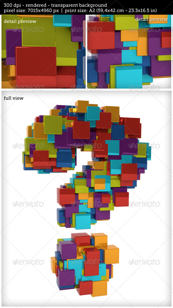 GraphicRiver Random Metallic Colored Question Mark 7921018