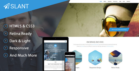 ThemeForest Slant One Page Responsive Template 7874343