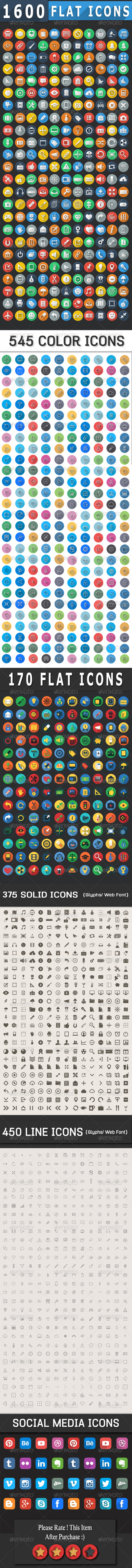 GraphicRiver 1600& Flat Icons Colorful Icons Set 7921444