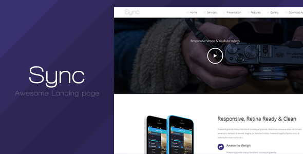 ThemeForest Sync Responsive Landing Page 7863875