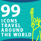 Travel Around The World Line Icons - GraphicRiver Item for Sale