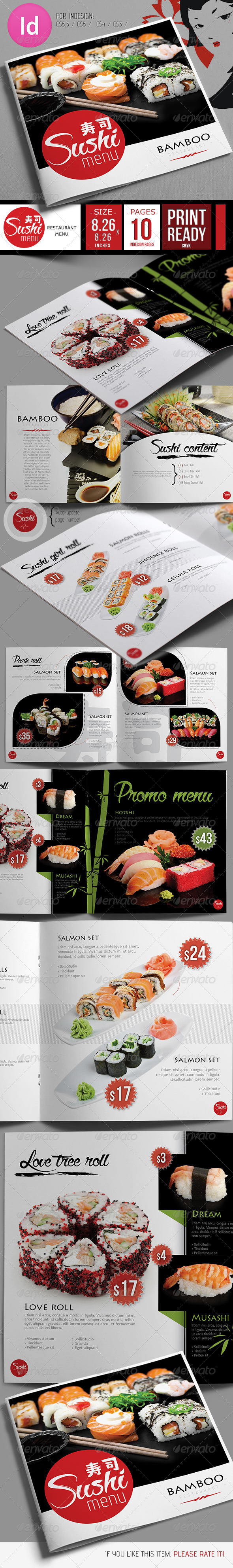 GraphicRiver Fresh Sushi Restaurant Menu 7921728
