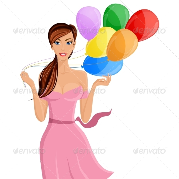 GraphicRiver Woman Balloon Portrait 7921808