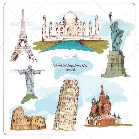 GraphicRiver World Landmark Sketch Colored 7921824